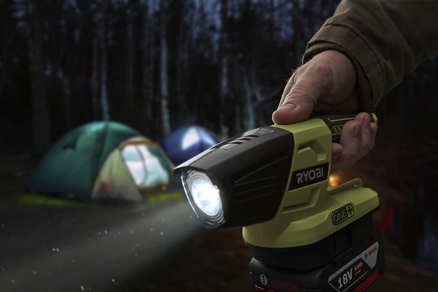 Ryobi One+ cordless LED torch with Bosch Professional 18V battery