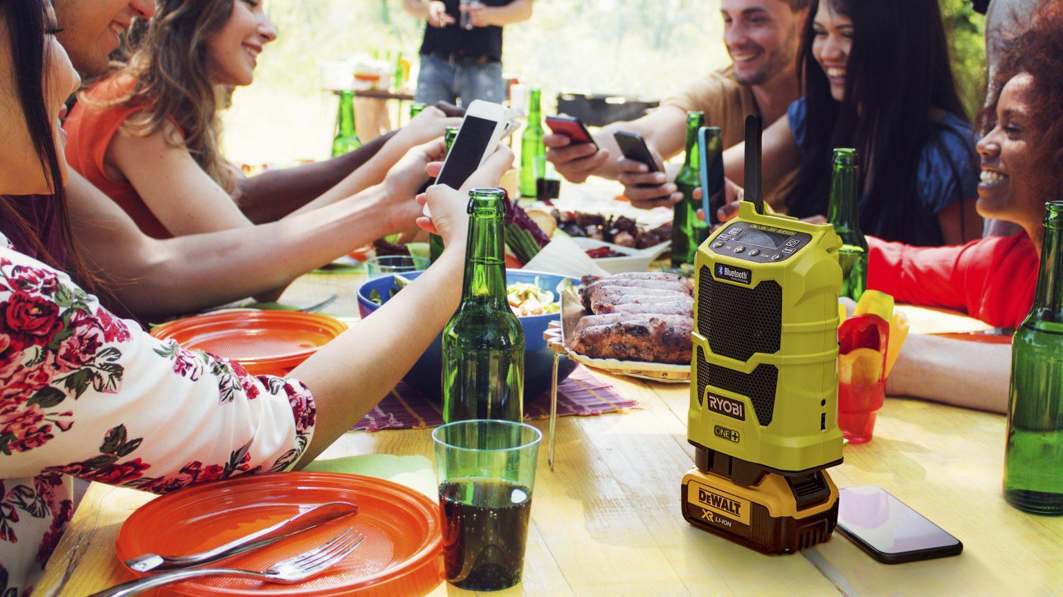 Use a Ryobi One+ radio with a DeWalt battery this summer