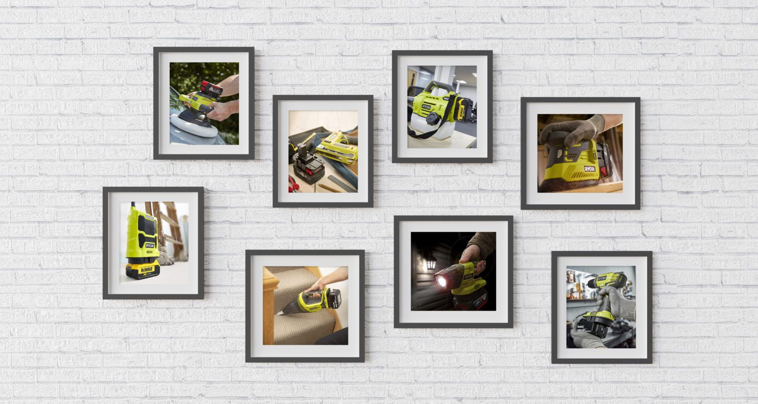 Gallery wall with hanging pictures