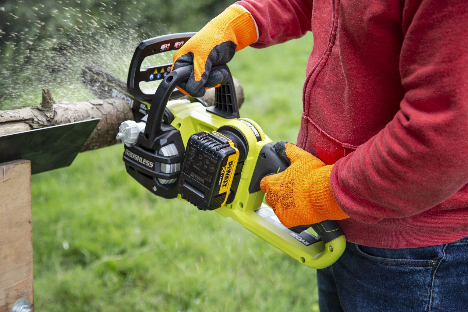 Ryobi One+ chainsaw with DeWalt battery